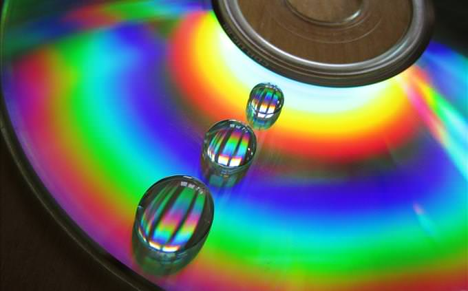 rainbow CD with water droplets