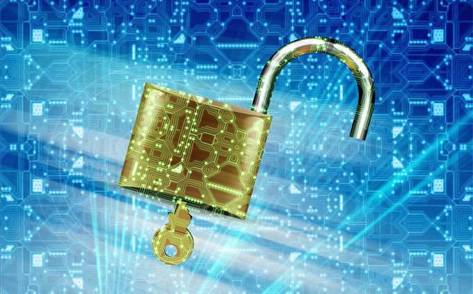 unlocked padlock on tech background