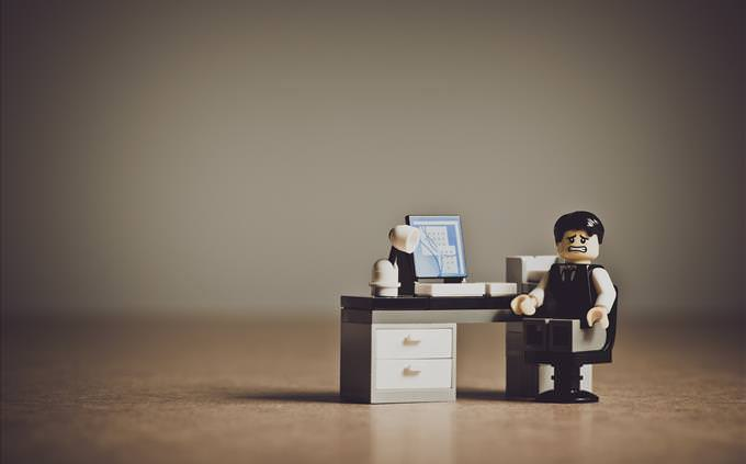 Lego distressed man with PC