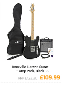 Knoxville Electric Guitar + Amp Pack, Black.